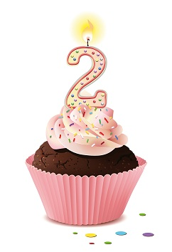 Cupcake mit Kerze und die Zahl 2